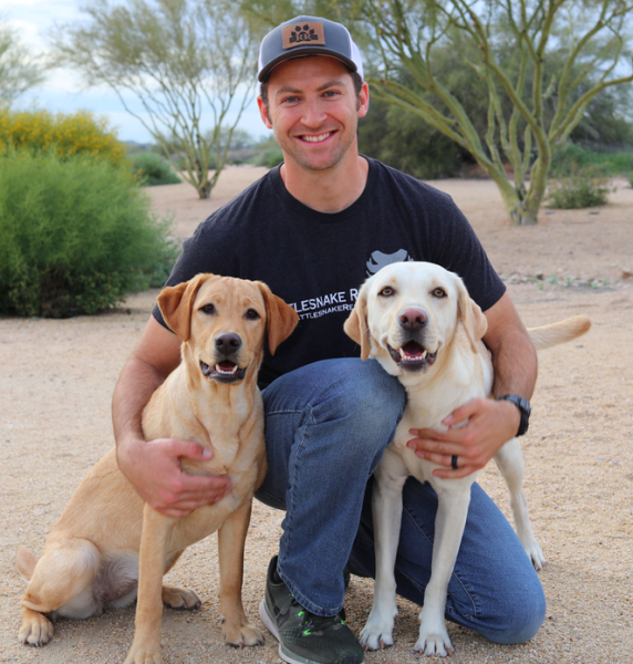Cody with two labs